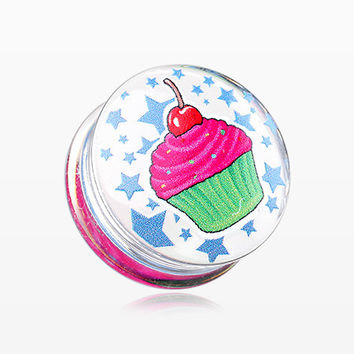A Pair of Cupcake Star Clear UV Double Flared Ear Gauge Plug