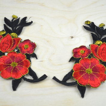 2 Pairs of Black and Red Embrodiery Flower Patches/ Flower applique with Iron-on Backing Perfect for Neckline