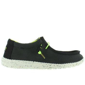 Hey Dude Wally L Sox Funk   Black/lemon Textile Athleisure Wallabee