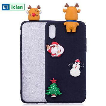 Etician Christmas Decorations Case For iPhone 5s 6 6s 7 8 X plus Silicone Cover For iPhone 5s 6 6s 7 8 X Phone Accessory Gift