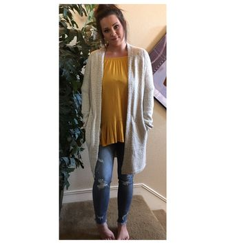 Cozy Soft Oatmeal Long Sweater Cardigan with Pockets