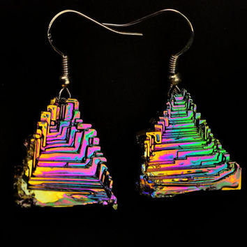 Pyramids of Spring,  Iridescent Bismuth Crystal and Sterling Silver Earrings, Unique, Fractal, Artistic Jewelry