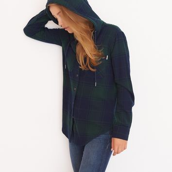 Hooded Flannel Plaid Shirt