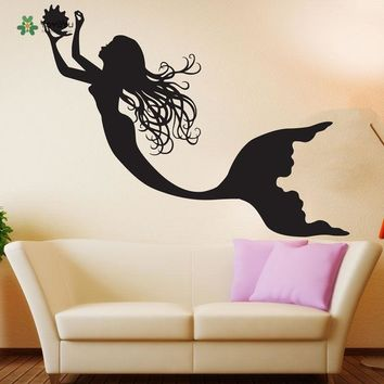 YOYOYU Wall Decal Vinyl Girl Room Decoration Under The Sea Ocean Sticker Decor Wall Sticker Mermaid Nursery Poster YO108