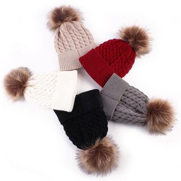 PEAPUNT Fashion Toddle Infant Newborn Winter Warmer Baby Knitted Wool Hat Kids Warm Cap Girls Boys Knitted Hats Wool Fur Ball Caps