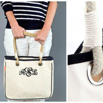 Set of 5 - Monogrammed Preppy Canvas Rope Tote - Personalized Medium Tote - Tote Rope Handles - 6 Colors - Bridesmaid Gift
