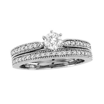 3/4 CT. T.W. Diamond Vintage-Style Bridal Engagement Ring Set in 14K White Gold