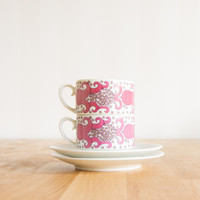 Arabia Finland Esmeralda Pink Tea Cup and Saucer set by Richard Lindh