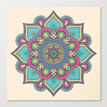 Colorful Floral Mandala Canvas Print by Smyrna