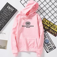 BALENCIAGA Autumn Winter Popular Unisex Casual Print Hooded Sweater Top Sweatshirt Pink