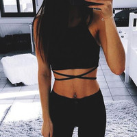 Comfortable Hot Beach Bralette Stylish Women's Fashion Summer Hot Sale Sexy Spaghetti Strap Wrap Cross Strap Vest [10786293647]