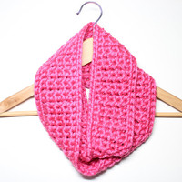 Pink Infinity Scarf, Crochet Scarf, Chunky Cowl, Circle Scarf, Women's Neckwarmer, Winter Accessory