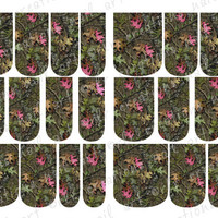 24- MOSSY OAK INSPIRED Camo 2 Styles to Choose From  Full Nail Wrap Water Slide Nail Art Decals Full Color and 12 Sizes inc Toe Nail Size