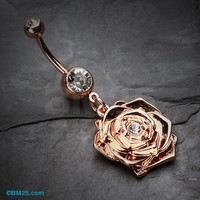 Rose Gold Plated Blossom Belly Button Ring