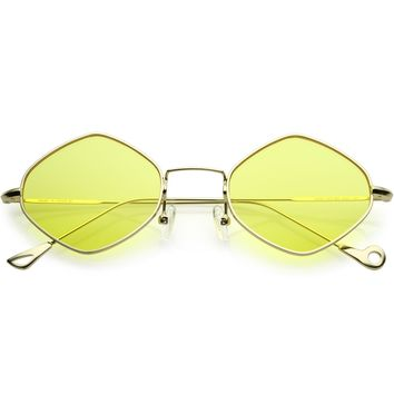 Premium Small Metal Diamond Sunglasses Ultra Slim Arms Color Tinted Flat Lens 51mm