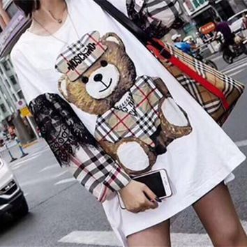 moschino fashion casual cute multicolor lace tartan cartoon bear letter print loose long sleeve cotton sweater mini dress