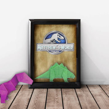 Personalized Dinosaur Gifts, Dinosaur Birthday Printables, Jurassic World Wall Art, T-rex Dinosaur Art Print, Dinosaur Kids, Nursery Art