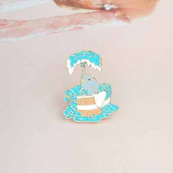 Cartoon elephant bathing Brooch Pin Buckle Enamel pin for Coat Denim Jacket Bag Badge Fashion Animal Jewelry Gift for Kids Girl