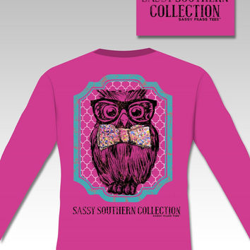 Sassy Frass Preppy Owl Bow Glasses Bow Comfort Colors Long Sleeve Bright Girlie T Shirt