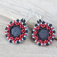 Round Southwestern Boho Earrings in Turquoise Blue, Coral Red and Black