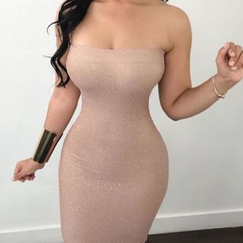 Pink Bandeau Bright Wire Off Shoulder Backless Sparkly Bodycon Party Midi Dress