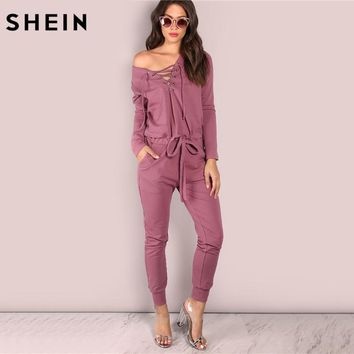 SHEIN Slouchy Lace Up Cotton Jumpsuit Autumn Jumpsuits for Women 2017 Off the Shoulder Long Sleeve V Neck Jumpsuit