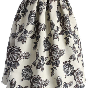 Glowing Rose Intarsia Midi Skirt