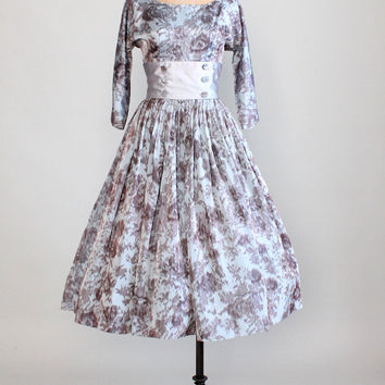 Vintage 1950s Silk Silvery Floral Party Dress