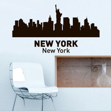 Wall Vinyl Sticker Decals Decor Art Bedroom Design Mural Words Sign Town City Skyline New York (z3049)