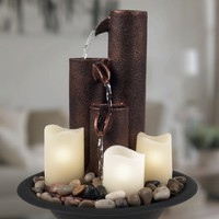 Pure Garden Tiered Column Tabletop Fountain - LED Lights and Candles | Overstock.com Shopping - The Best Deals on Indoor Fountains