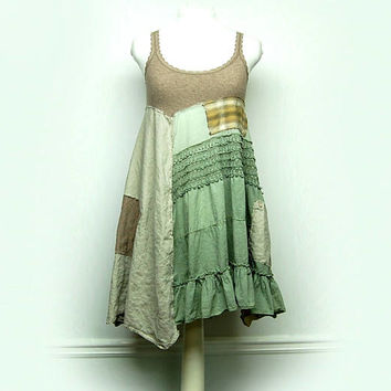 Medium Boho Shabby Chic Summer Dress, Artsy Mori Girl Style Dress, Rustic Eco Upcycled Clothing by Primitive Fringe