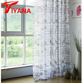 English Urban Curtain with newspaper design