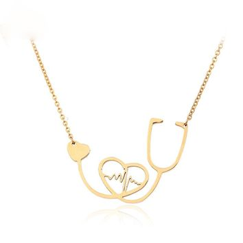 Medical Stethoscope Choker Necklace Stainless Steel Nurse Heartbeat Bijoux Collier Femme I Love You colar Necklaces Women Mujer