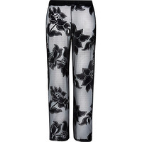 River Island Womens Black floral lace palazzo pants