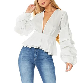 NEW Fashion Women Long Puff Sleeve Solid Blouses Spring Ladies Sexy Deep V-Neck Ruffles Casual Tops Shirts Autumn Cropped #LH