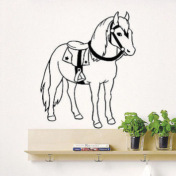 Wall Decals Horse Cowboy Animal Decal Nursery Room Bedroom Decor Vinyl DA1979