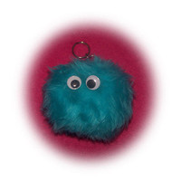 Fluffy fuzzy Monster pom pom ball keyring keychain teal neptune very cute