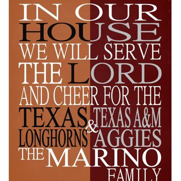 A House Divided - Texas Longhorns and Texas A&M Aggies personalized family print poster Christian gift sports wall art - multiple sizes