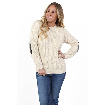 Knit Pullover w/ Faux Leather Elbow Patch