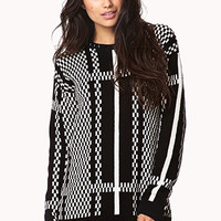 Abstract Checkered Pattern Sweater