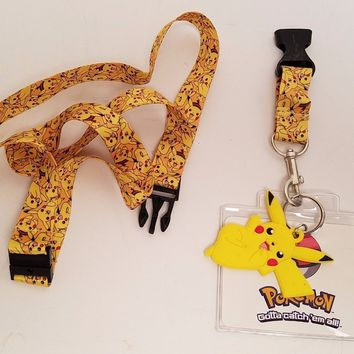 Pokemon Pikachu All Over Lanyard With Detachable Charm Keychain/ID Strap