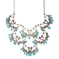 Antique Silver Crescent Heart with Turquoise Beads Statement Necklace
