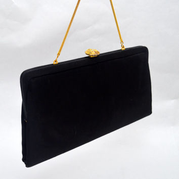 Classic Black Vintage Handbag or Evening Purse, Bobbie Jerome, Gold Tone Accents and Chain Strap, 1950s-1960s