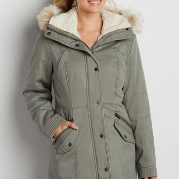 anorak coat with faux fur trimmed hood | maurices