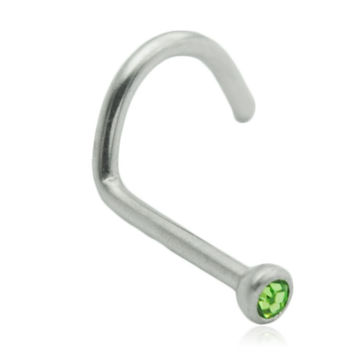 Green Gem Nose Screw Stud