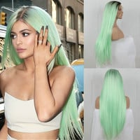Kylie Inspired Ombre Mint Green Long Wig