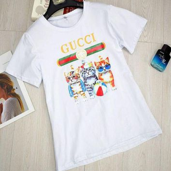 PEAPJ1A GUCCI Stylish Round Collar Three Little Kittens Print T-Shirt Pullover Top White