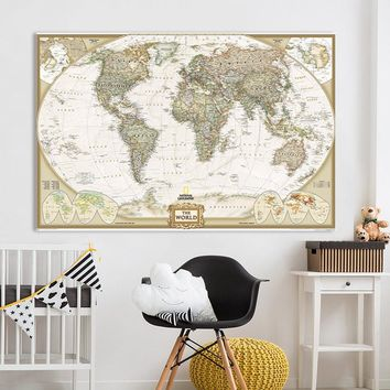QKART Wall Art Home Decor no Frame large map of the world Poster Oil Painting on Canvas for Living Room Office Bedroom