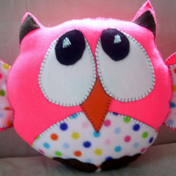 Hot pink and polka dot owl pillow ,throw pillow ,childs toy, stuffed animal ,plushie owl pillow novelty pillow animal pillow