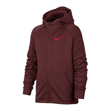 Nike Boys' Dry Fleece Full Zip Training Hoodie Dark Team Red